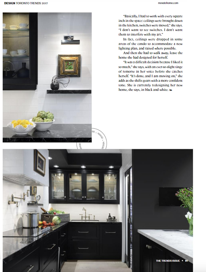 Project featured in Movato Home - Toronto Home Magazine