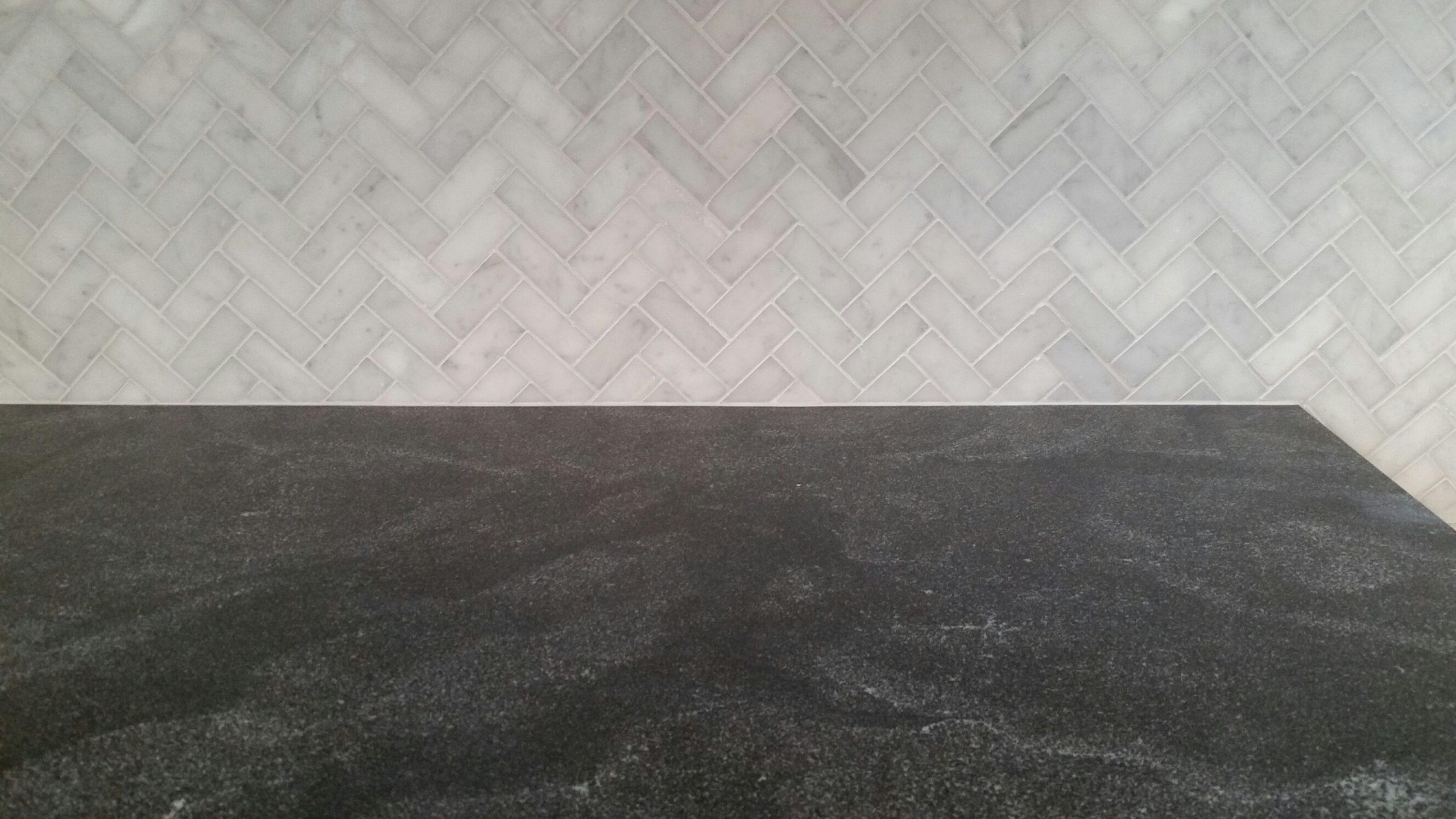 Bianco Carrara Herringbone & Jet Mist
