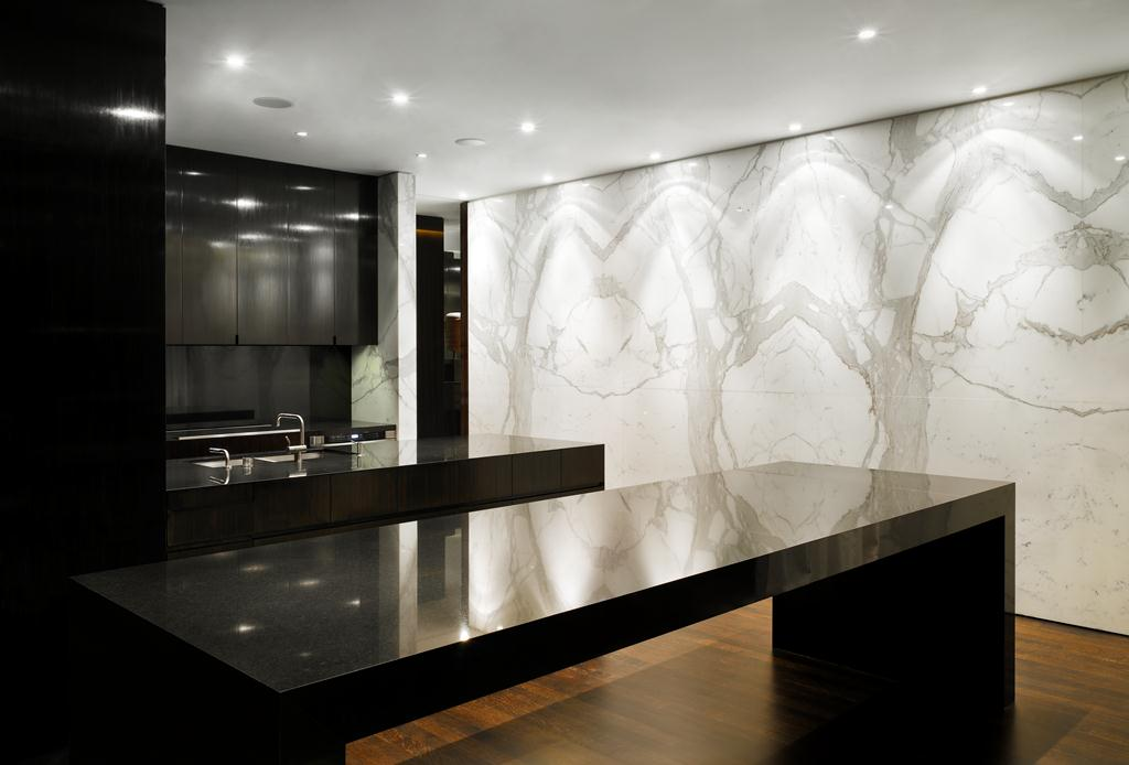 Wall - Calacatta Bookmatched | Countertops - Black Granite