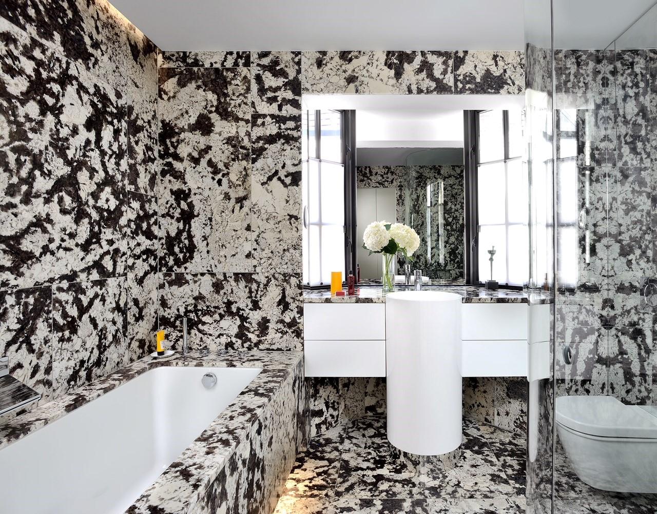 Floors, Walls, Bathtub & Vanity - Delicatus White
