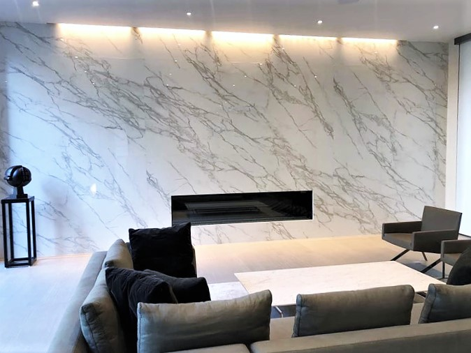 Neolith Calacatta Feature Wall Fireplace