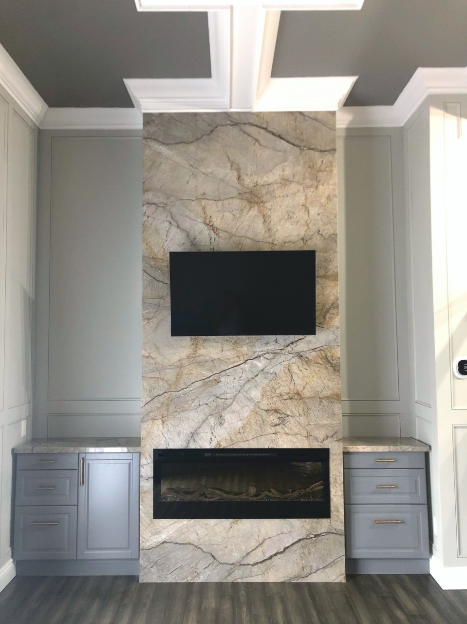 Grey Monet Marble Fireplace
