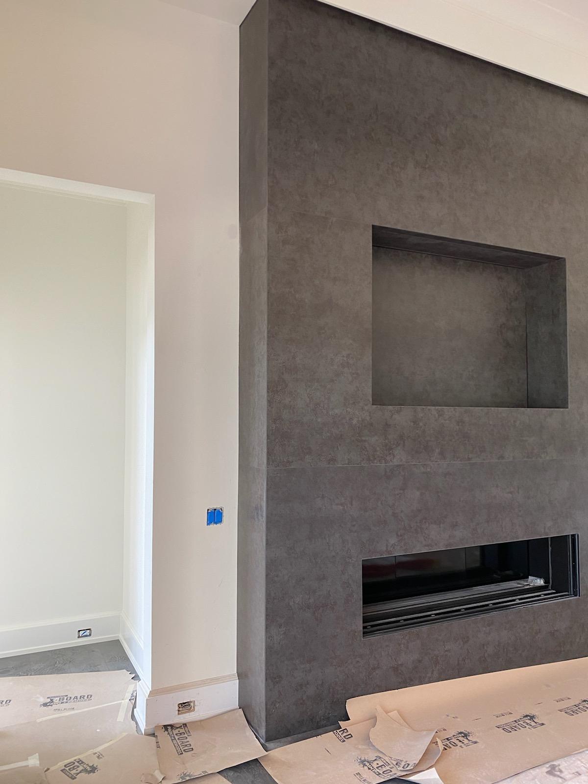 Iron Grey Sintered Stone Fireplace